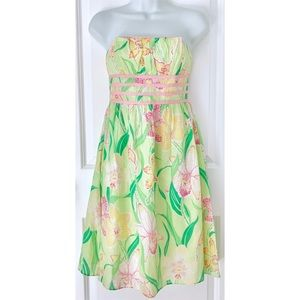 Lilly Pulitzer Green Strapless Pink Floral Dress
